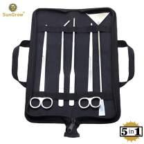 SunGrow Aquarium Tool Kit, Stainless Steel Aquatic Plant Tweezers, Scissors and Spatula, Tank Aquascaping Starter Set, Includes Black Case, 5-in-1
