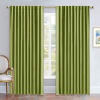 NICETOWN Green Curtains Blackout Drape Panels - (Grass Green Color) W70 x L84, Double Panels, Window Treatment Blackout Draperies for Living Room