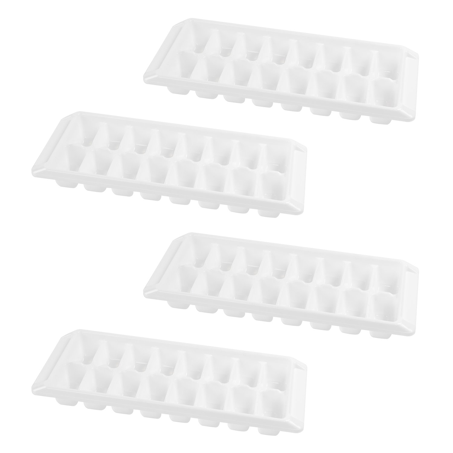 White Ice Cube Trays Easy Release Stackable Flexible Durable Non-Stick Freezer Treats Molds (4 Pack, 16 Cubes)