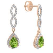 Dazzlingrock Collection 14K 7X5 MM Each Pear Gemstone & Round Diamond Ladies Infinity Teardrop Dangling Drop Earrings, Rose Gold