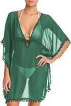 Pink Wind Women's Sheer Kimono Cover Ups Chiffon Long Beach Wear Dress