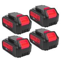 4Pack 6.0Ah DCB205 Battery for DeWalt 20V Lithium ion Battery MAX XR DCB204 DCB205 DCB206 DCB205-2 DCB201 DCB203 DCB181 DCB180 DCD/DCF/DCG/DCS Replacement DeWalt 20V Batteries