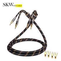 SKW A Pair Audiophile Speaker Cable,Convertible Banana Spade Gold Plated Connector,Nylon Braid,HiFi Quality Cable(9.8ft/3M,2 Packs for 2 Speakers)