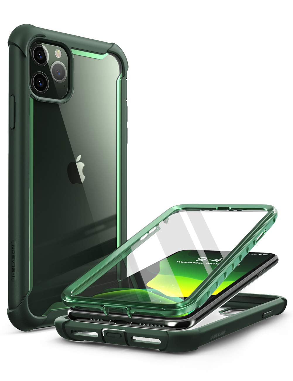 i-Blason Ares Series for iPhone 11 Pro 5.8 Inch (2019 Release), Rugged Clear Bumper Case with Built-in Screen Protector (Green)