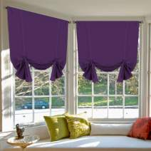 Blackout Energy Saving Thermal Insulated Tie Up Curtain for Small Window Home Fashion Window Treatment Solid Pattern Rod Pocket Panels for Kitchen, 2 Panels, Plum Purple