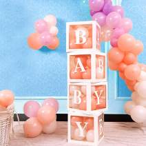 Aytai Baby Shower Boxes Party Decorations, 4 Pcs White Baby Transparent Balloons Decor Boxes with Letter, Individual baby shower blocks for Girls Boys Birthday Party, Gender Reveal Party Supplies