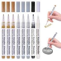 Acrylic Paint Pens,8 Pack 0.7mm Gold and Silver Metallic Permanent Markers for Wood, Glass, Metal and Ceramic - Water Based(3 Gold 3 Silver 1Black 1White)