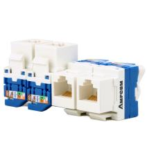 AMPCOM 5-Pack CAT6 RJ45 Tool-Less Keystone Jack, No Punch Down Tool Required UTP Module Connector White