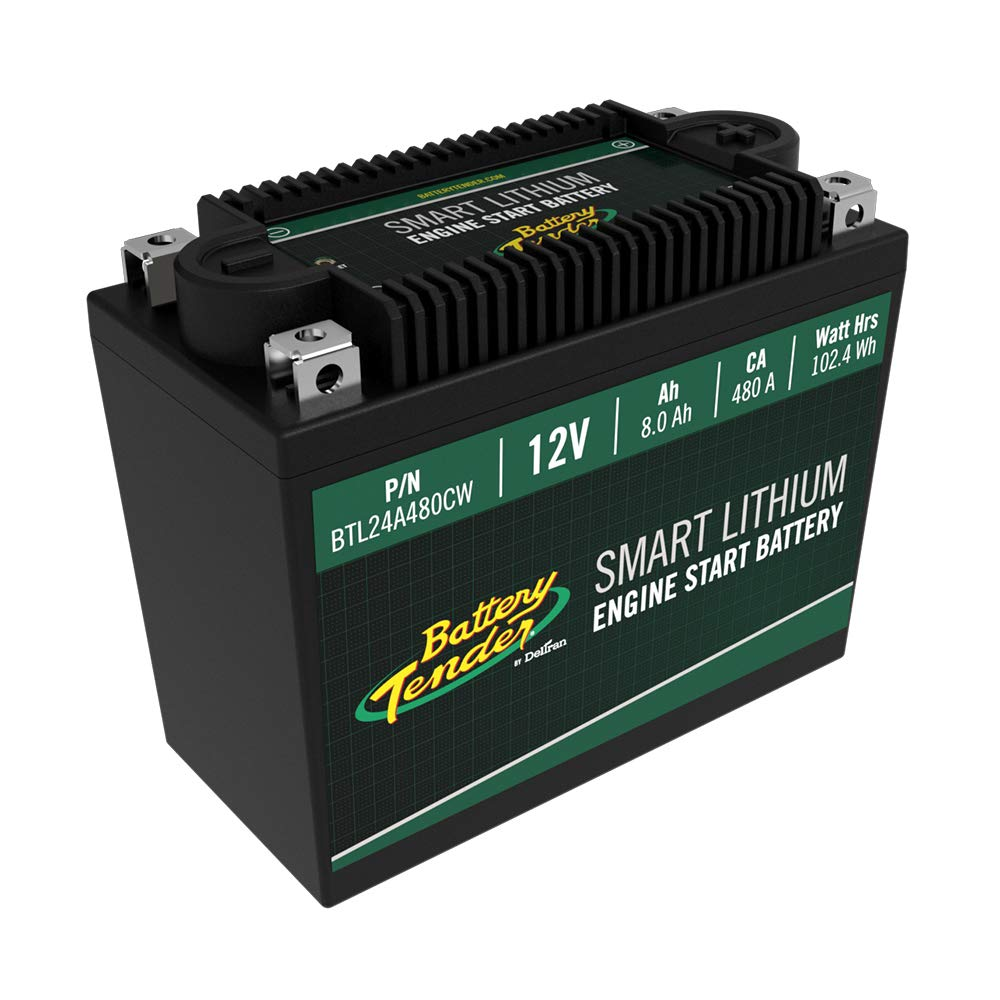 Battery Tender Engine Start Battery: Lithium Motorcycle Battery with Smart Battery Management System (BMS) - 12V 8.0 AH 480 CCA Lightweight Starting Batteries for Motorcycles and ATVs - BTL24A480CW