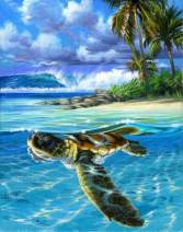 """7-Mi DIY Paint by Numbers, Canvas Oil Painting Kit for Kids & Adults, 16"""" W x 20"""" L Drawing Paintwork with Paintbrushes, Acrylic Pigment-Sea Turtle"""