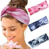 Heread Boho Headbands Criss Cross Knot Hair Bands Yoga Tie Dye Sweatband Elastic Sport Head Wraps for Women and Girls (Pack of 3) (A Pink)