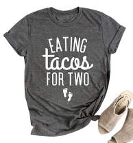 Eating Tacos for Two Maternity Shirt Cute Graphic Letter Print T-Shirt Pregnancy Announcement Short Sleeve Tees Tops