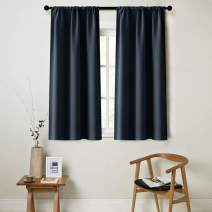 MRTREES Navy Blue Curtains 45 inches Long Kitchen Tiers Room Darkening Bedroom Short Curtain Panels Triple Weave Living Room Drapes Rod Pocket Window Treatment Set 2 Panels