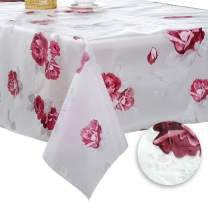DITAO Plastic Floral Tablecloth Rectangle Waterproof Wipeable Table Cover for Spring Picnic Party, 60 x 104 inch