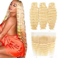 HCDIVA 613 Blonde Human Hair Bundles with Frontal Brazilian Deep Wave with Baby Hair Frontal 100% Ear to Ear Virgin Human Hair Weave with Lace Frontal(10 12 14+10, Bundles with frontal)