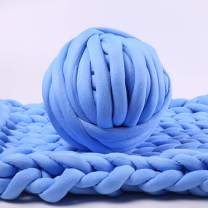 Bulky Yarn, Blue Super Chunky Yarn Washable Roving for Arm Knitting Extreme Knitting (Blue)
