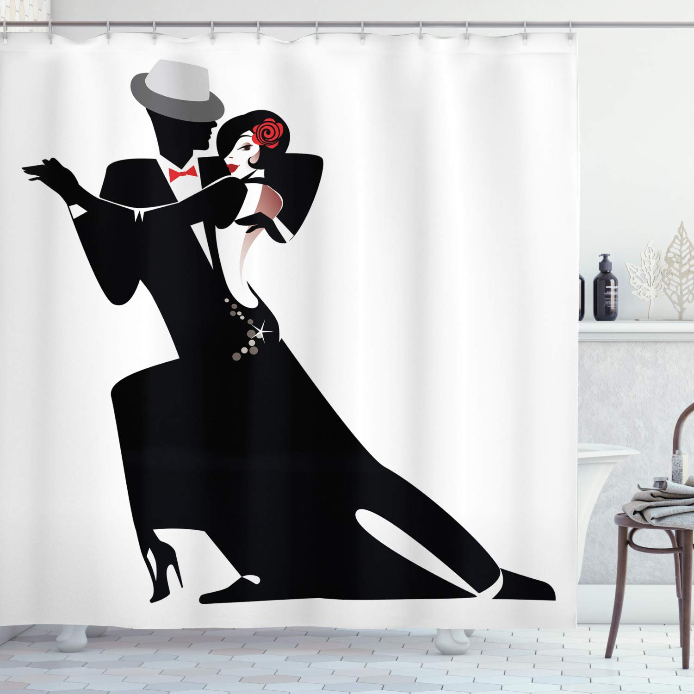 "Ambesonne Retro Shower Curtain, Man and Woman Partners Romantic Dance Tango Waltz Lovers in Rhythmic Music Art Print, Cloth Fabric Bathroom Decor Set with Hooks, 70"" Long, White Black"