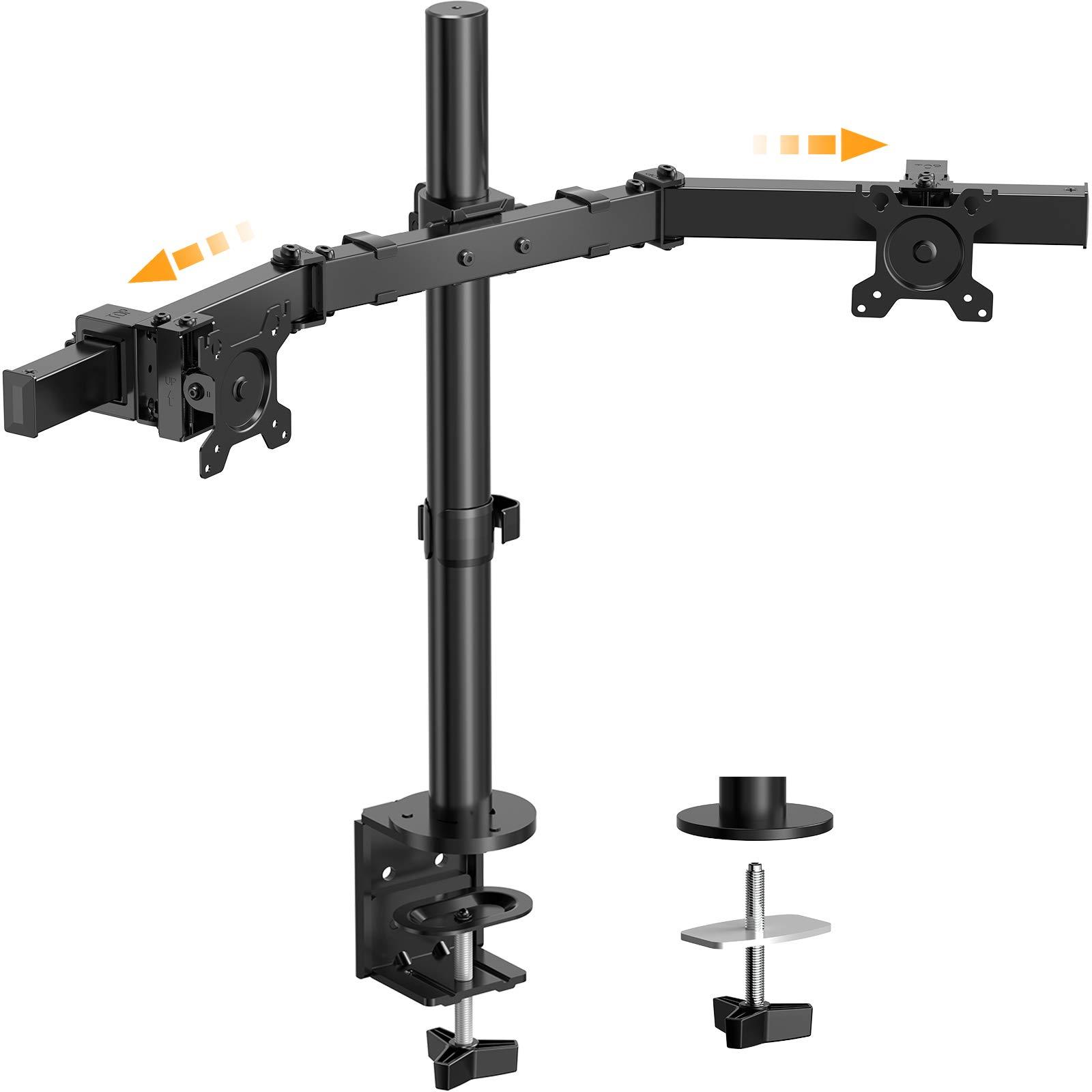 "ErGear Dual Monitor Desk Mount Stand 17-32"", Adjustable Sliding Monitor Arms 26.4lbs, Dual Monitor Stand with C-Clamp and Grommet Base, 75/100mm VESA, Black - EGCM5"