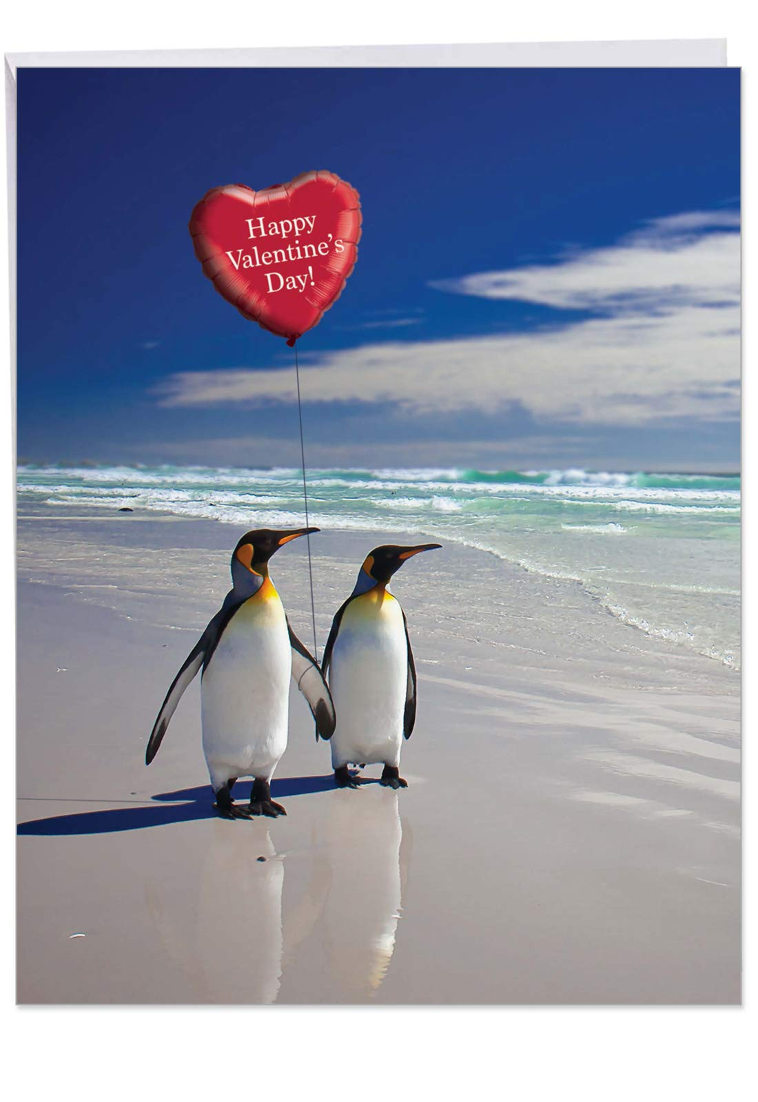 Extra Large Beach Penguins Card with Envelope (Letterhead 8.5 x 11 Inch) - Romantic Vacation, Cute Animal Valentine's Greeting Card - Funny Stationery Valentines Card for Wife, Husband J3514VDG