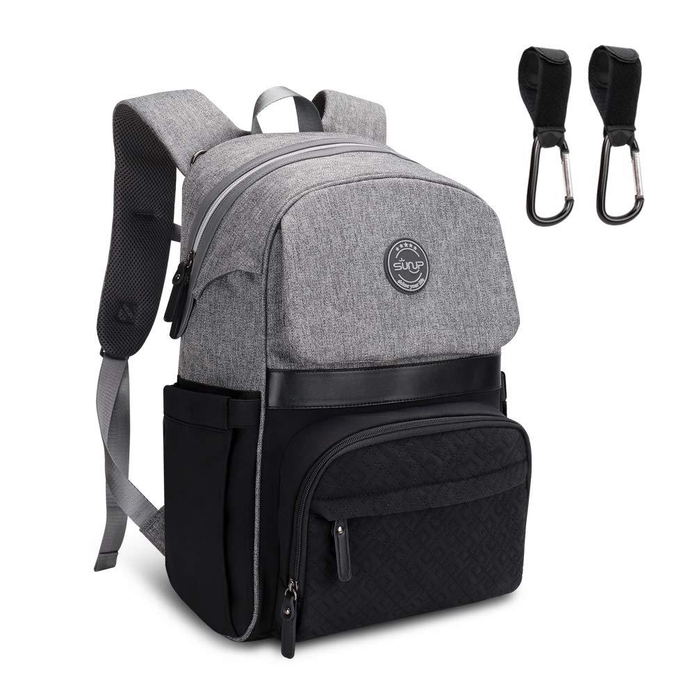Diaper Bag Backpack, Sunup Baby Travel Nappy Back Pack, Single-hand Open Zipper (Gray-black)