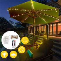 Decdeal Strings Lights Patio Umbrella Lights 104 LEDs 8 Lighting Modes with Remote Control Battery Operated Waterproof 8 Strings Lights for Indoor Outdoor RGB