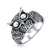 Protection Old Wise Owl Bird Band Ring For Women For Teen Oxidized 925 Sterling Silver