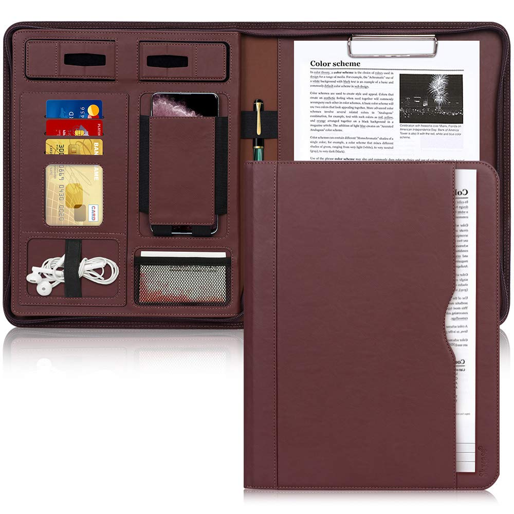 Portfolio Padfolio Case, Skycase Business Portfolio Folder, Zippered Conference Folder Document Organizer with Letter Size Clipboard, Document/Tablet Sleeve(Up to 12.9'' Tablet) and Card Holders Brown