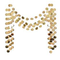 6 Pcs Glitter Champagne Gold Paper Circle Dots Garland (52 Feet) Party Hanging Bunting Birthday Party Decorations Engagement Party Bridal Shower Wedding Baby Shower Christmas Supplies Photo Backdrop
