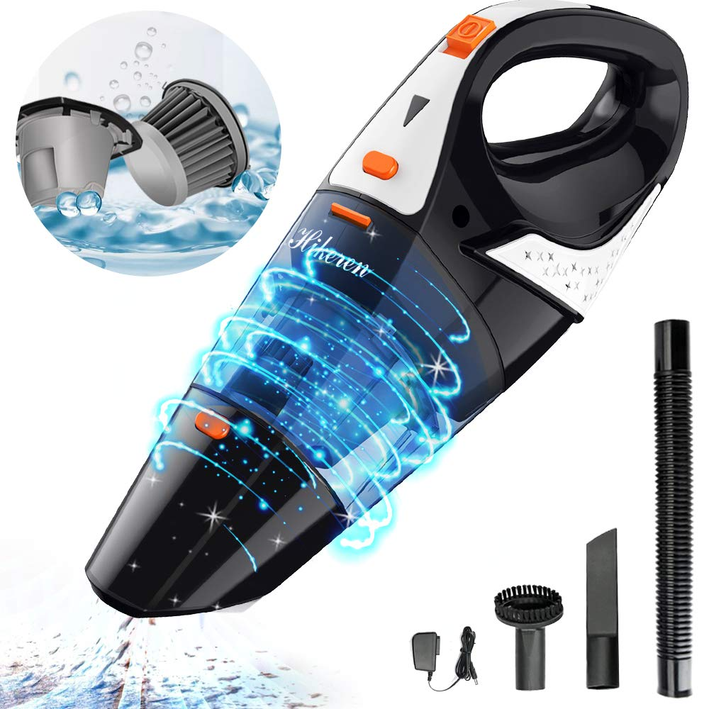Hikeren Handheld Vacuum, Hand Vacuum Cordless with High Power, Mini Vacuum Cleaner Handheld Powered by Li-ion Battery Rechargeable Quick Charge Tech, for Home and Car Cleaning, Wet & Dry-Orange