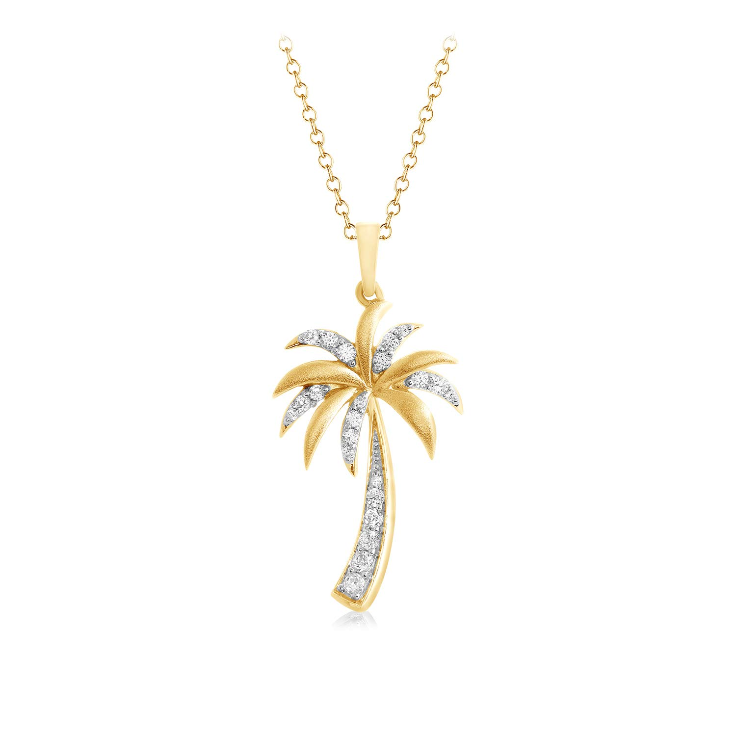 CARATS FOR YOU 14K Yellow Gold Round Cut Real Natural Diamond, Palm Tree Pendant Necklace For Women