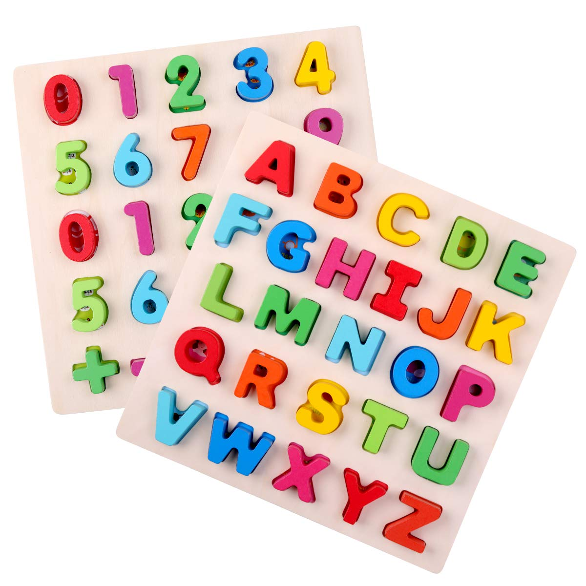 GEMEM Wooden Alphabet Puzzles Set Upper Case Letter ABC Puzzle and Number Learning Blocks Board Toys for Toddlers Preschools Age Above 3 Year Old Pack of 2
