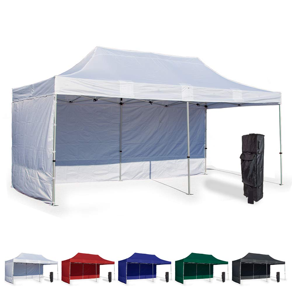 Vispronet 10x20 Instant Canopy Tent and 2 Side Walls – Commercial Grade Aluminum Frame with Water-Resistant Canopy Top and Sidewall – Bag and Stake Kit Included (White)