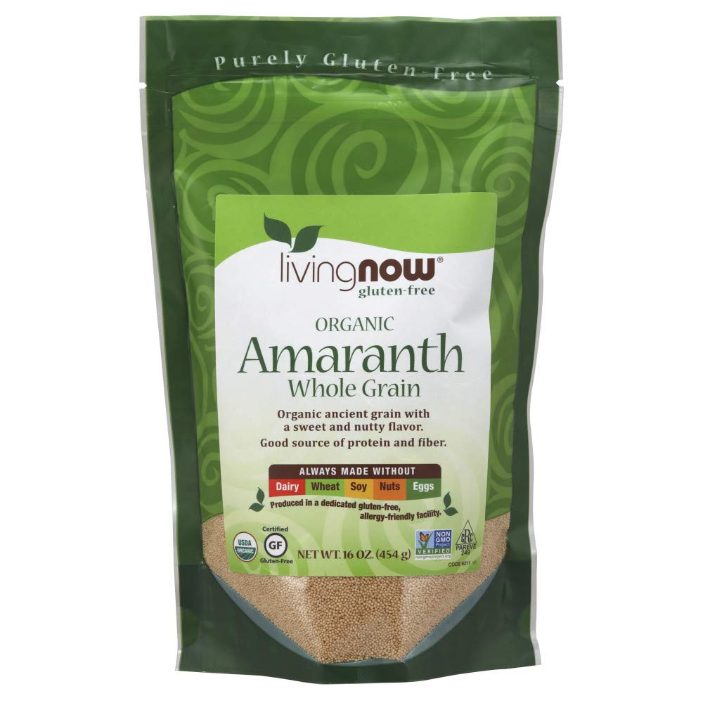 NOW Foods, Organic Amaranth Whole Grain, Source of Protein and Fiber, Gluten-Free, Certified Non-GMO, 16-Ounce