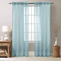 Sheer Curtains for Living Room Window Curtains 84 inch Length Drapes Textured Voile Pole Top Sheer Window Panels for Bedroom 1 Pair Baby Blue