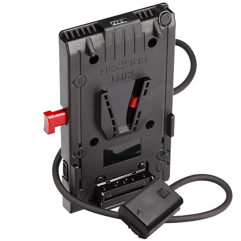 HEDBOX | UNIX-FW50 | V Mount/Lock Battery Adapter Plate, with 1x USB 5V/2.1A and 3X D-Tap 14.8V/148W Power Out, for Sony Alpha a5100/a6000/a6300/a6400/a6500/a7 via NP-FW50 housing