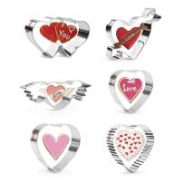 KAISHANE 6 PCS Valentines Cookie Cutter Set-Heart Cookie Cutters Stainless Steel Biscuit Fondant Cutters Cake Decoration for Lover Wedding Anniversary Engagement Themed Party Gift