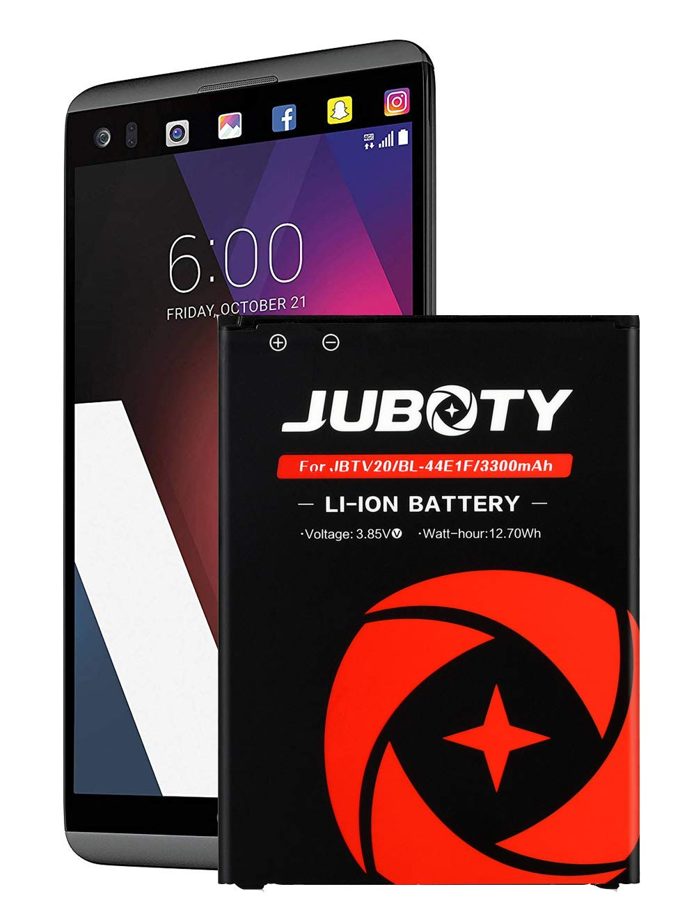 LG V20 Battery,JUBOTY Upgraded 3300mAh Replacement Battery for LG V20 BL-44E1F H910 H918 LS997 US996 VS995/V20 Spare Battery(24 Month Warranty)