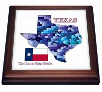 """3dRose Flag and County Map of Texas in Blues with State Name and Nickname Trivet with Ceramic Tile, 8 by 8"""", Brown"""