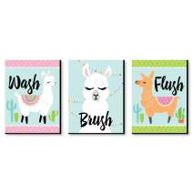 Big Dot of Happiness Whole Llama Fun - Kids Bathroom Rules Wall Art - 7.5 x 10 inches - Set of 3 Signs - Wash, Brush, Flush