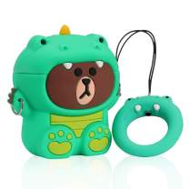 Joyleop Dinosaur Green Case Compatible with Airpods 1/2, Cute Cartoon Fun Funny 3D Animal Kids Girls Teens Cover, Kawaii Cool Stylish Fashion Soft Silicone Character Airpod Skin Cases for Air pods 1&2