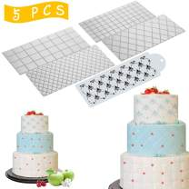 Wedding Cake Stencil Template, Kissbuty 5 Pcs Cake Decorating Embossing Plastic Spray Floral Cake Cookie Fondant Side Baking Mesh Stencil Mat Wedding Decor Tools (Diamond Quilted Grid Texture)