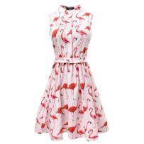 Women Cute Flamingo Fun Flare Prints Flowy A-line Party Cocktail Causal Dresses