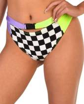 iHeartRaves Women's High Waisted Front Buckle Booty Shorts Festival Rave Bottoms