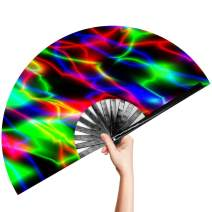 OMyTea Large Rave Clack Folding Hand Fan for Men/Women - Chinese Japanese Bamboo Handheld Fan - for EDM, Music Festival, Club, Event, Party, Dance, Performance, Decoration, Gift (Neon Lights)