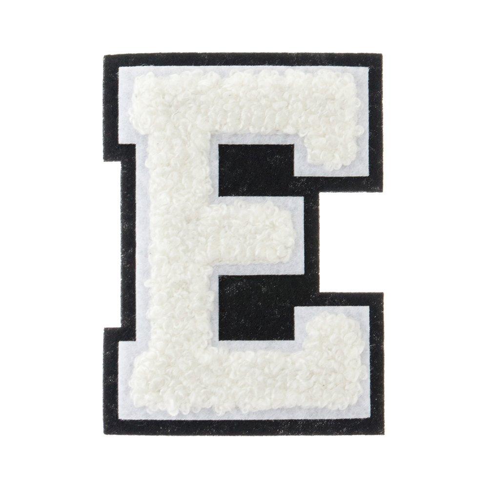 """2 1/2"""" Heat Seal Chenille Small Varsity Letter E - White on Black"""