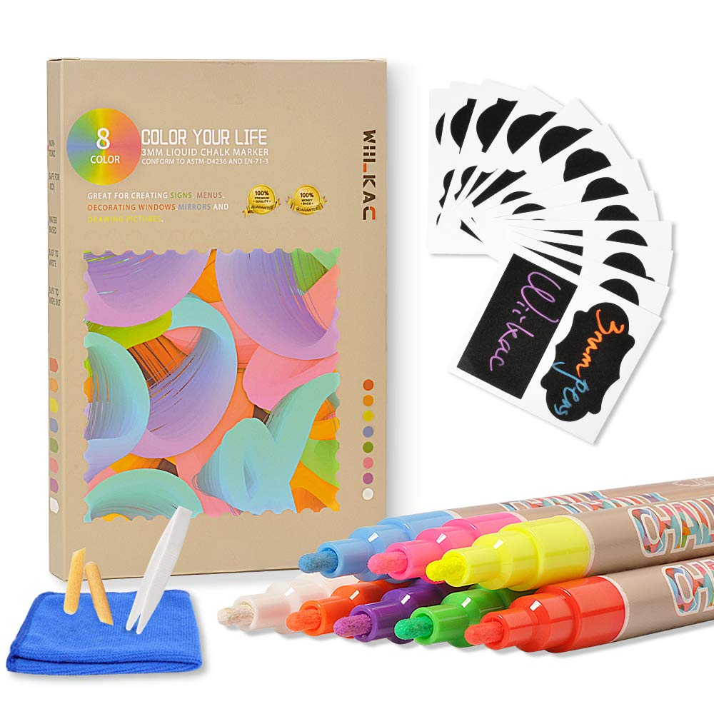 Liquid Chalk Markers Pen, (8 Pack 3mm) Neon Chalk Pens for Bistro Boards and Windows Paint, Chalkboard Markers Erasable with 24 Labels, Cleaning Cloth, 2 Reversible Bullets and Chisel Tip