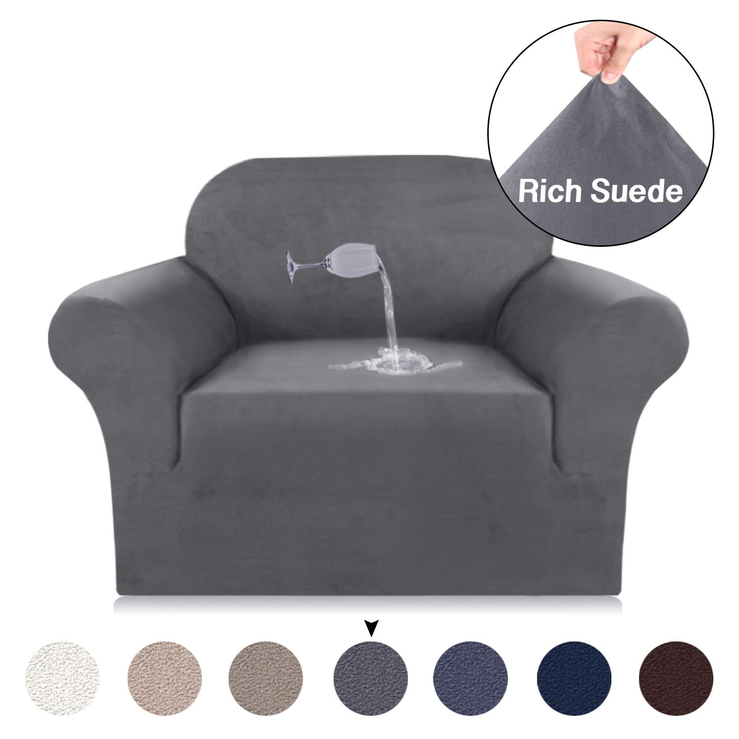 Turquoize Stretch Chair Slipcovers 1 Piece Velvet Plush Couch Cover for Chair, Water Repellent Stretch Luxury Furniture Covers, Strapless Stay in Place Washable Sofa Protector Cover (Chair, Grey)