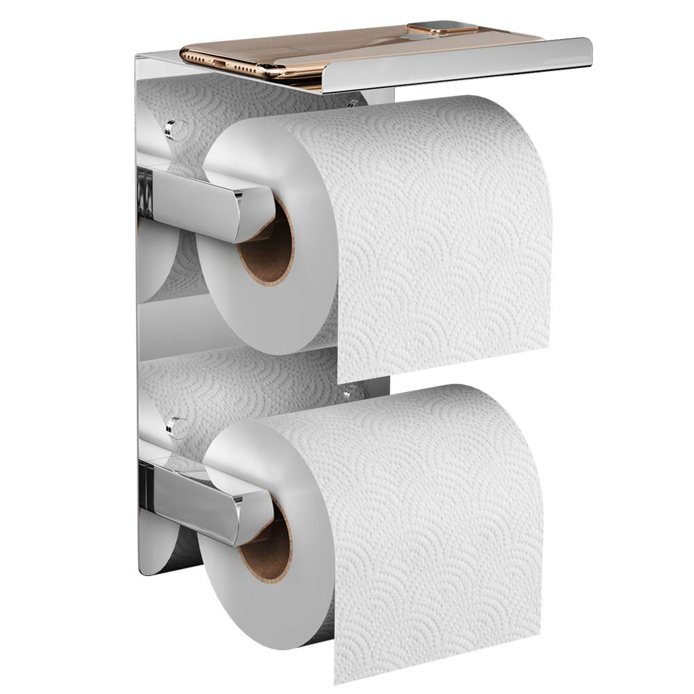 FANHAO Double Roll Toilet Paper Holder Chrome, SUS 304 Stainless Steel Double Roll Tissue Holder with Phone Shelf, Wall Mounted