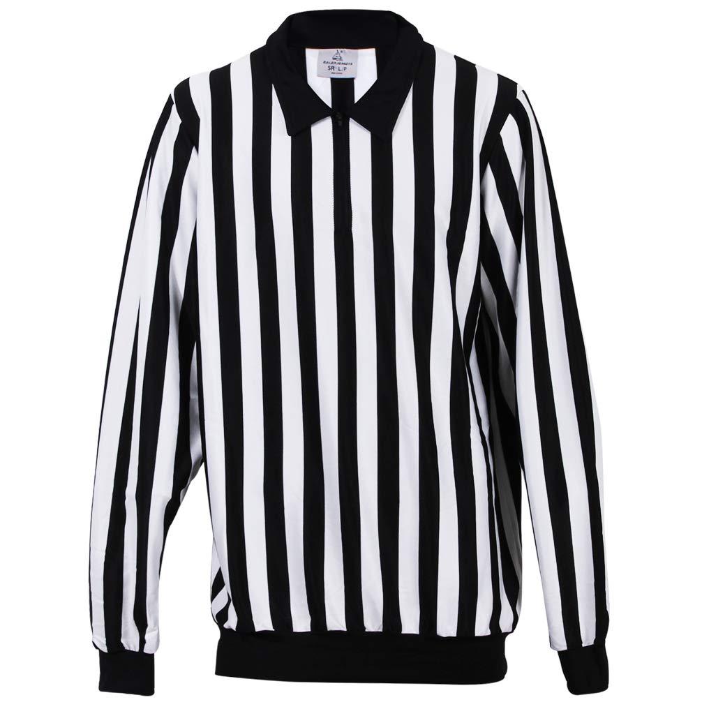 ChinFun Womens Official Black /& White Stripe Referee Shirt Zipper Collar Classic Umpire Jersey Short Sleeve Ref Jersey