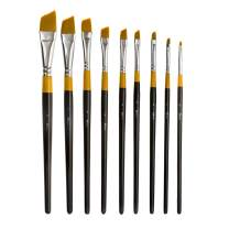 MEEDEN Angular Paint Brushes Set for Oil Acrylics Watercolor and Gouache Color Painting, 9-Piece